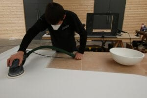 Allstar Joinery employee working Corian worktop