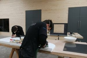 Corian worktop preparation at Allstar JoInery production facility