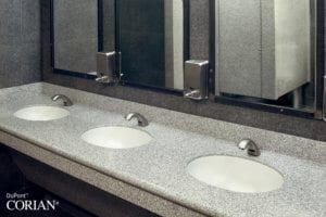 Corian® bathroom worktops and solid surfaces available through Allstar Joinery, Glasgow