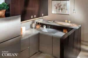 Corian® kitchen worktops and solid surfaces, supply and intstallation and fit-out available through Allstar Joinery,