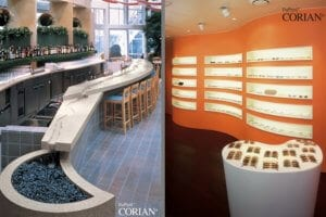 Corian® worktops and solid surfaces, supply and intstallation and fit-out available through Allstar Joinery,