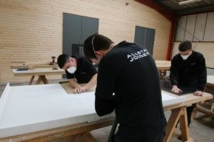 Preparing Corian worktop at Allstar Joinery sustainable production facility