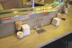 Installation of Corian solid surfaces YO! Sushi Restaurant, Glasgow Fort.