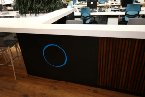 Architects office reception desk including Corian surface by Allstar Joinery