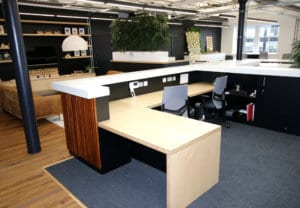 Glasgow office fit-out main reception counter integrated with Corian solid surface