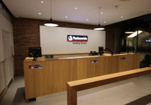 Commercial joinery bespoke bank counter