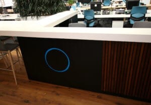 Bespoke office reception desk with Corian solid surface