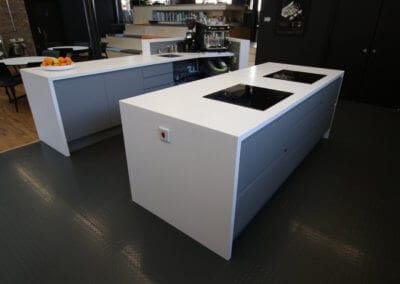 Kitchen work area with bespoke solid surface Corian� worktops